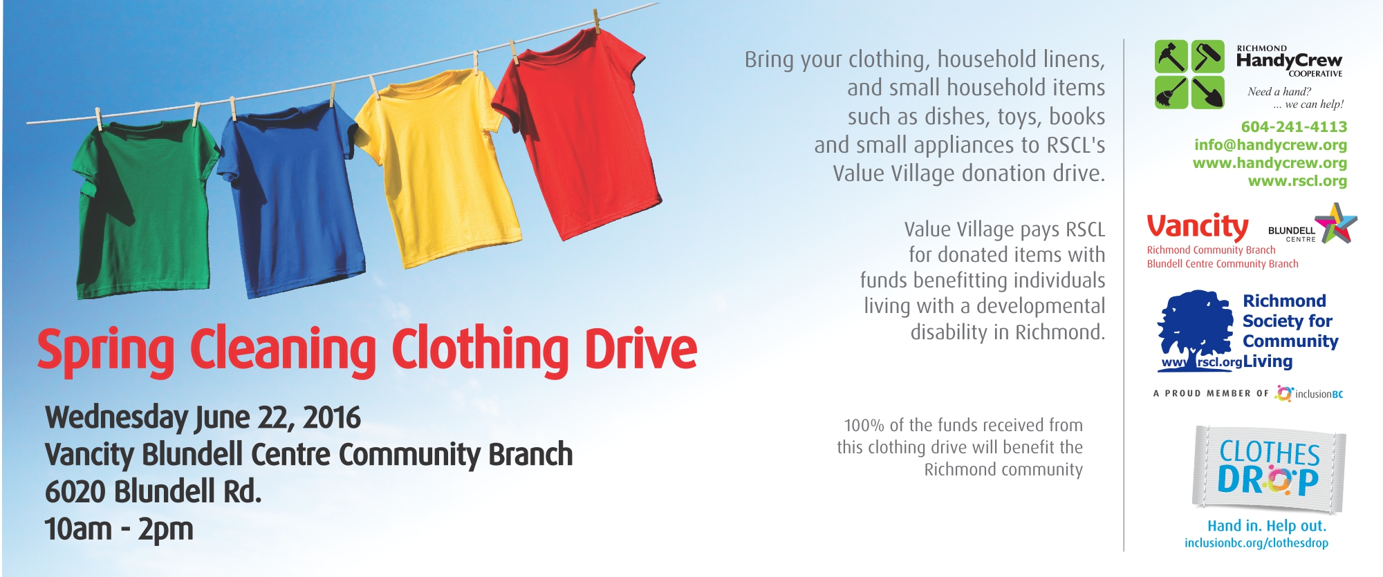 Spring cleaning clothing drive richmond society for What is spring cleaning